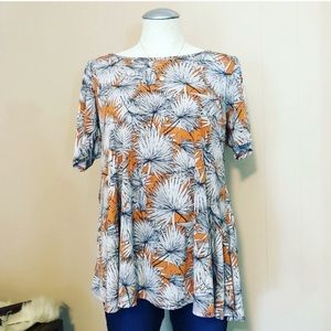 LulaRoe Orange & Brown Floral Legging Swing Tee
